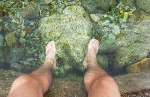 johns feet in rock pool before Vizzavona